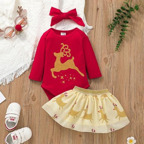 Fashion Christmas Cartoon Printing Long Sleeve Romper Short Skirt Set Wholesale Nihaojewelry NHSSF428714's discount tags