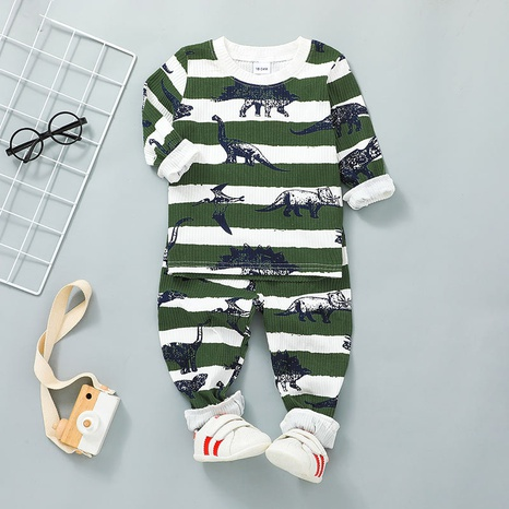 children's cartoon two-piece printing dinosaur pullover trousers suit wholesale nihaojewelry NHSSF428715's discount tags