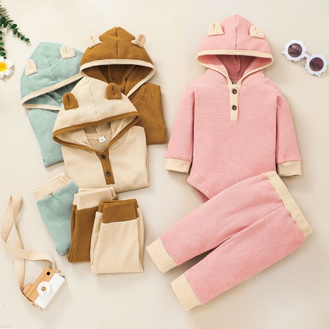 new style bear ear hooded long sleeve baby romper trousers two-piece set wholesale nihaojewelry  NHSSF428717's discount tags