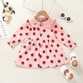 fashion Children's pink strawberry print long-sleeved dress wholesale nihaojewelry NHSSF428718