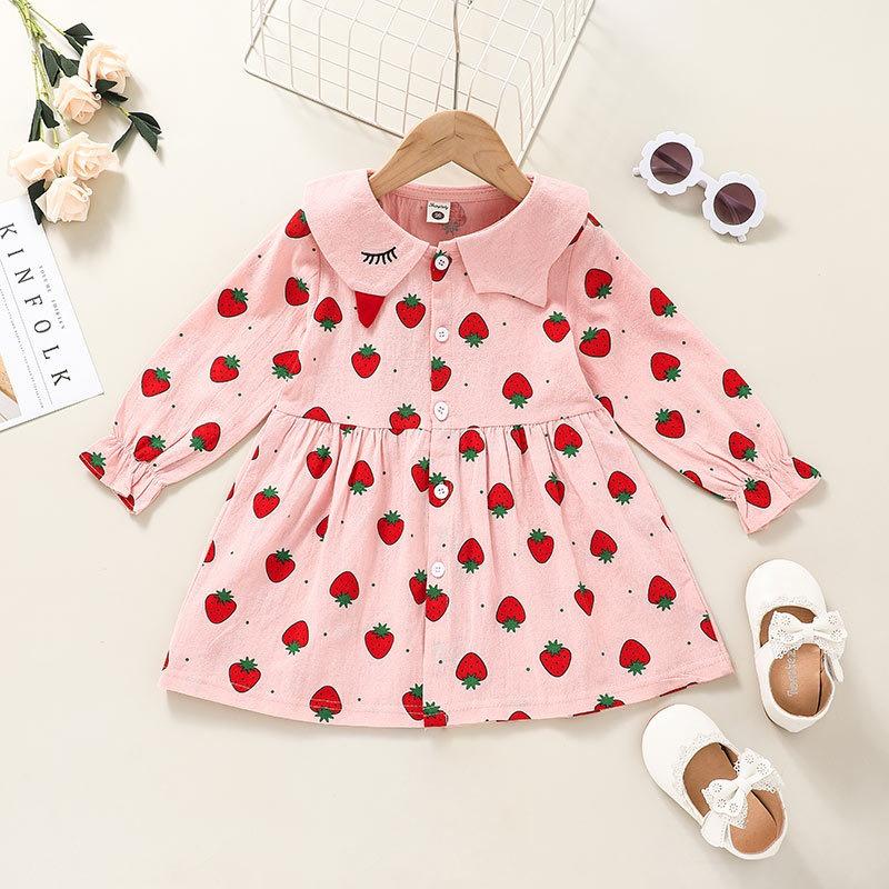 fashion Childrens pink strawberry print longsleeved dress wholesale nihaojewelry NHSSF428718