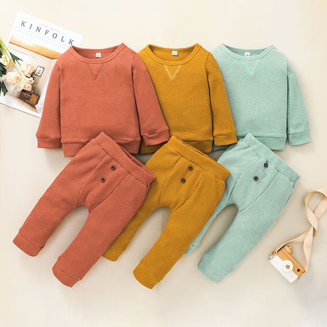 solid color long sleeve baby sweater trousers two-piece suit wholesale nihaojewelry  NHSSF428721's discount tags