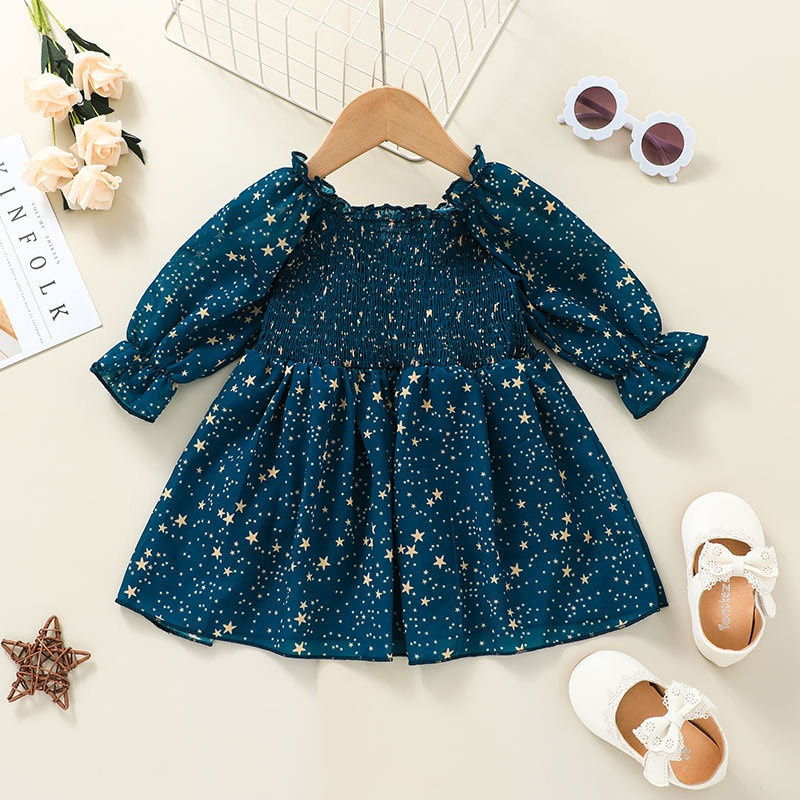 fashion contrast color star printing baby body longsleeved dress wholesale nihaojewelry NHSSF428725