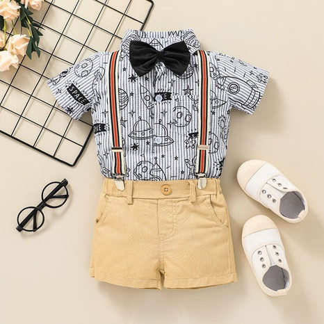 fashion baby bow striped printing T-shirt bib trouser two-piece suit wholesale nihaojewelry NHSSF428726's discount tags
