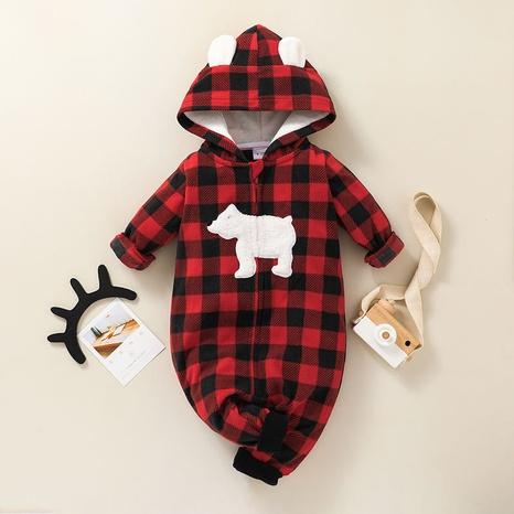 plaid pattern hooded zipper long sleeve baby romper wholesale nihaojewelry  NHSSF428728's discount tags