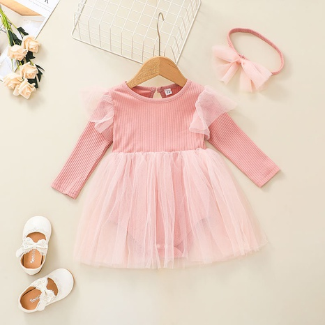 cute solid color net yarn long sleeve baby one-piece dress wholesale nihaojewelry  NHSSF428729's discount tags