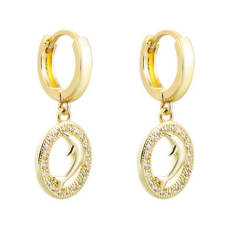 pendientes de circón con incrustaciones de cobre con colgante de delfín al por mayor nihaojewelry NHLN430160's discount tags