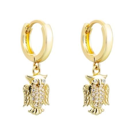 Pendientes de circón con incrustaciones de cobre con colgante de ardilla de leopardo de búho hueco al por mayor nihaojewelry NHLN430159's discount tags