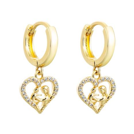 Pendientes de circón con incrustaciones de cobre colgante con figura de corazón hueco al por mayor nihaojewelry NHLN430158's discount tags