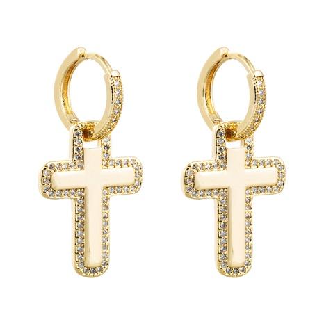 Pendientes de circón con incrustaciones de cobre con colgante de cruz al por mayor nihaojewelry NHLN430157's discount tags