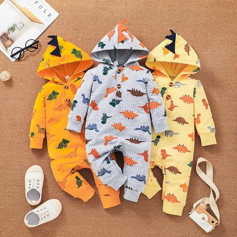 cartoon baby hooded dinosaur print jumpsuit wholesale nihaojewelry NHSSF429293's discount tags