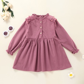 simple long-sleeved children's solid color pink A-line skirt wholesale nihaojewelry NHSSF429303
