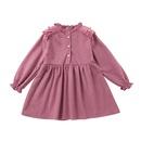 simple longsleeved childrens solid color pink Aline skirt wholesale nihaojewelry NHSSF429303