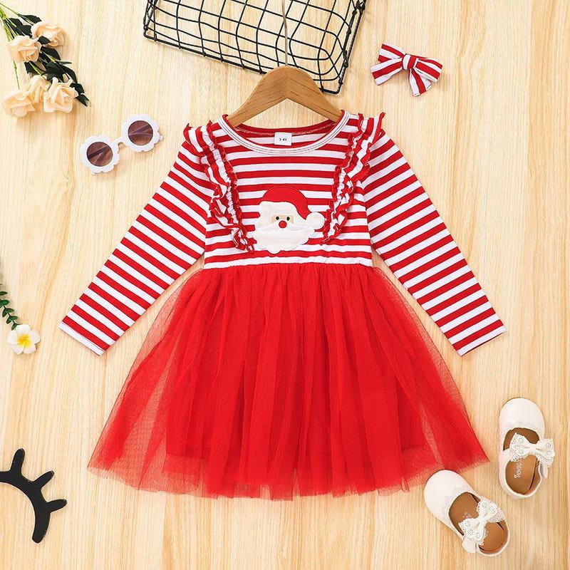 fashion new Christmas cartoon printing longsleeved striped Aline skirt wholesale nihaojewelry NHSSF429330