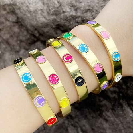 Color Drop Oil Lightning Wine Glass Smiley Emoticon Bracelet wholesale jewelry Nihaojewelry NHAS415883's discount tags