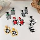 vintage black white plaid color flower acrylic checkerboard earrings wholesale nihaojewelry NHMS415972