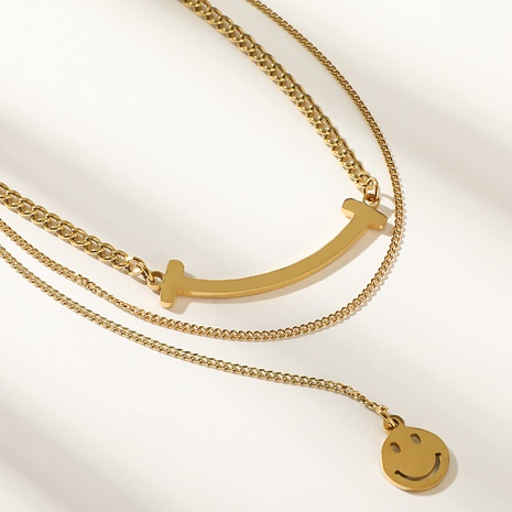 double layer smiley face pendant necklace wholesale nihaojewelry  NHYUN416189's discount tags