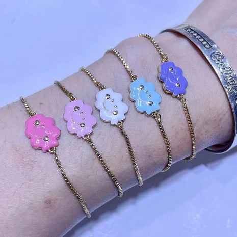 cartoon dripping oil color cloud smiley face bracelet wholesale jewelry Nihaojewelry NHWG416629's discount tags