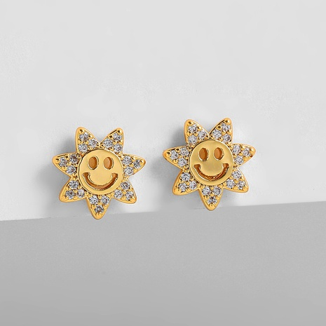 vintage fashion inlaid zircon smiley face earrings wholesale nihaojewelry NHLL416669's discount tags