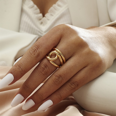 Real gold fashion personality simple metal style niche design simple cross copper opening ring NHIQ439759's discount tags