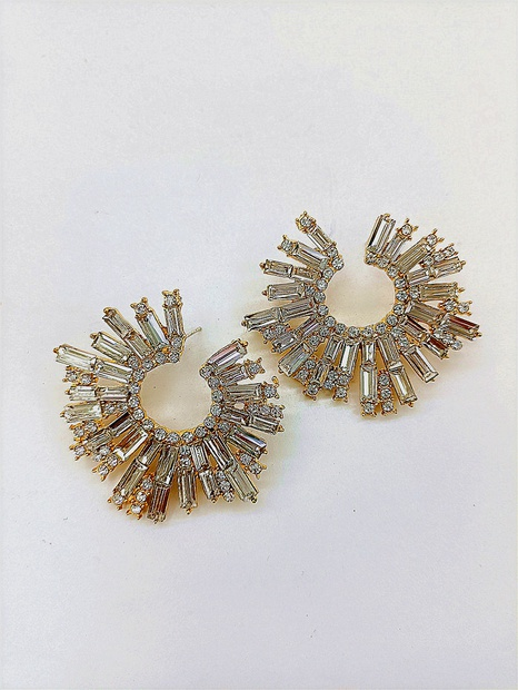 fashion vintage geometric inlaid rhinestone earrings wholesale nihaojewelry NHVA429878's discount tags