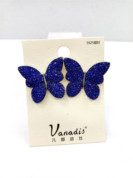 fashion dark blue butterfly micro rhinestone earrings wholesale nihaojewelry NHVA429889's discount tags