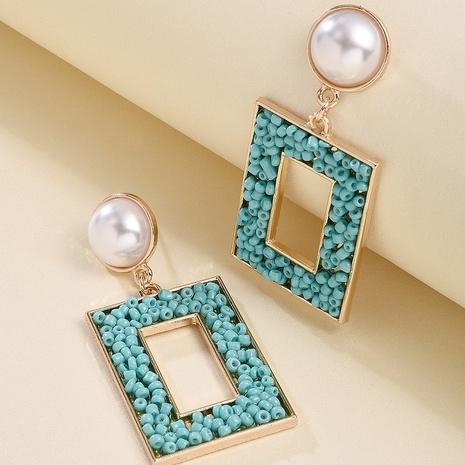 Pendientes colgantes cuadrados huecos de color de estilo étnico al por mayor nihaojewelry NHMD430174's discount tags