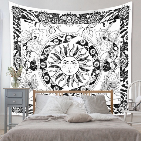 bohemian black and white sun lines tapestry background wall decoration wholesale Nihaojewelry NHZAJ429919's discount tags