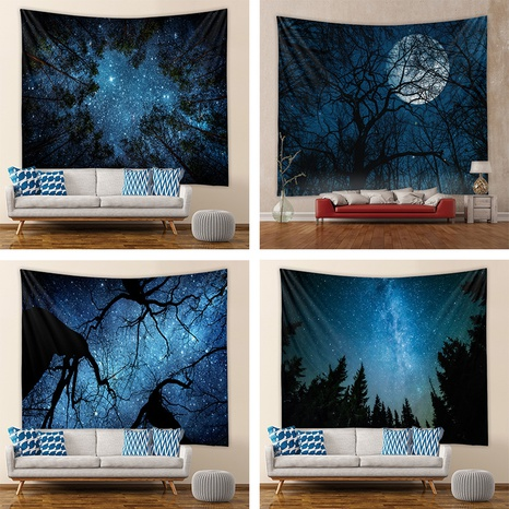 Night Starry Sky Forest Landscape Room Bedroom Tapestry Wholesale Nihaojewelry  NHZAJ429931's discount tags