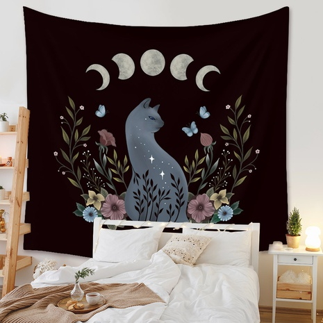 retro flower moon cat tapestry background wall decoration wholesale Nihaojewelry NHZAJ429936's discount tags