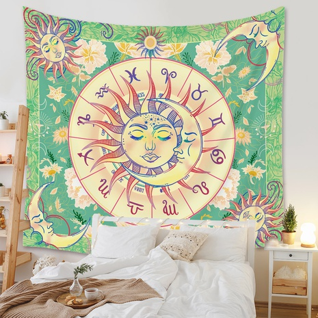 retro constellation moon green tapestry background wall decoration wholesale Nihaojewelry NHZAJ429943's discount tags