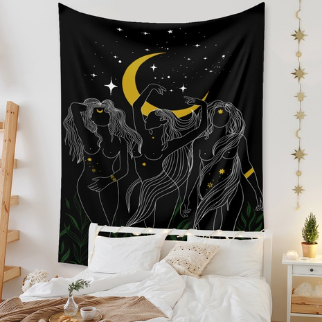 retro moon figure lines tapestry background wall decoration wholesale Nihaojewelry NHZAJ429954's discount tags