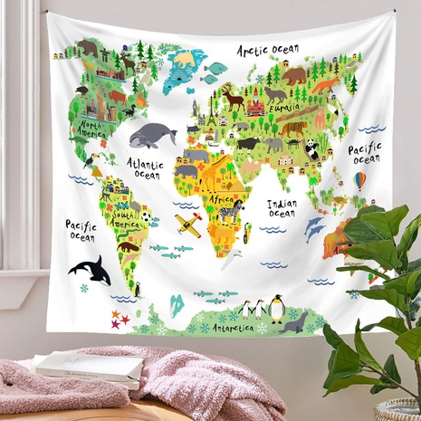 Bohemian Animals Map Printing Room Decoration Wall Cloth Wholesale Nihaojewelry  NHQYE430104's discount tags
