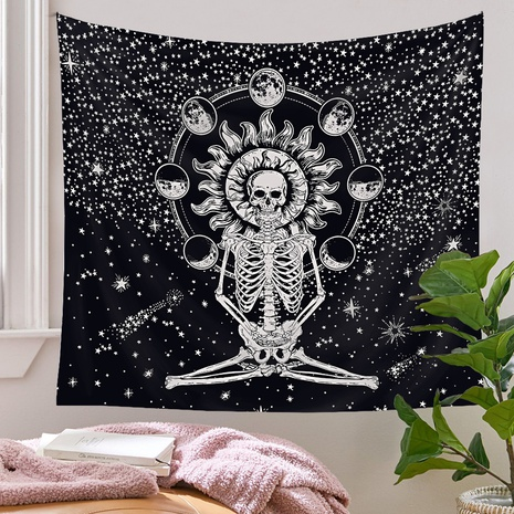 retro skull moon phase printing tapestry wholesale Nihaojewelry  NHQYE430116's discount tags