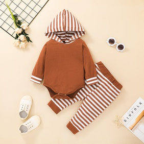 striped hooded children's romper trousers two-piece set wholesale nihaojewelry  NHSSF430191