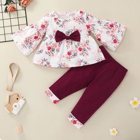 long sleeve flower print bow children's pullover top trousers two-piece set wholesale nihaojewelry  NHSSF430196
