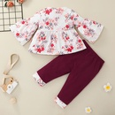 long sleeve flower print bow childrens pullover top trousers twopiece set wholesale nihaojewelry  NHSSF430196