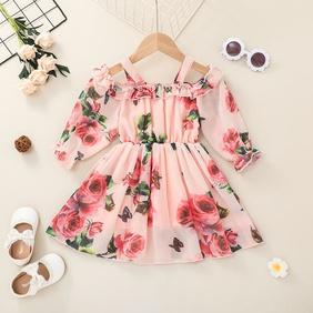 fashion chiffon children's suspender floral printing dress wholesale nihaojewelry NHSSF430203