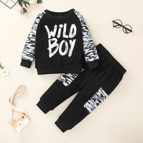 Korean style letter printing children's sweater pants suit wholesale Nihaojewelry  NHSSF430211
