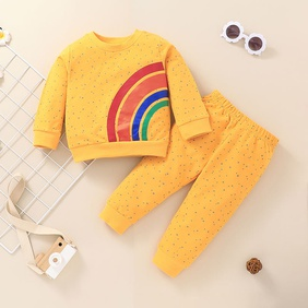 fashion rainbow printing children's pullover long-sleeved tops pants two-piece suit wholesale nihaojewelry NHSSF430233