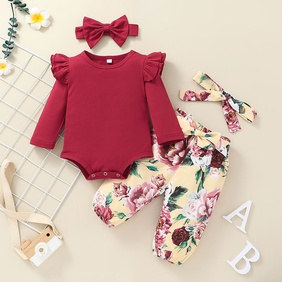 fashion printing long-sleeved children's romper two-piece suit wholesale Nihaojewelry NHSSF430237