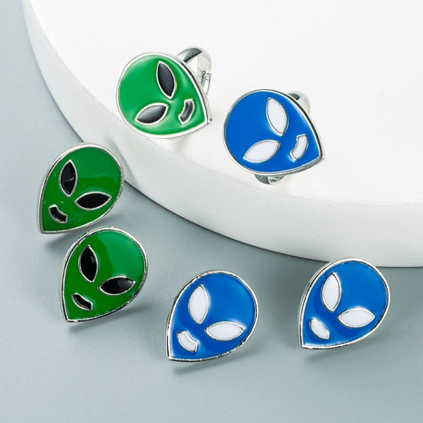 goteo de aceite alien forma pendientes anillo conjunto al por mayor nihaojewelry nihaojewelry NHLN430249's discount tags