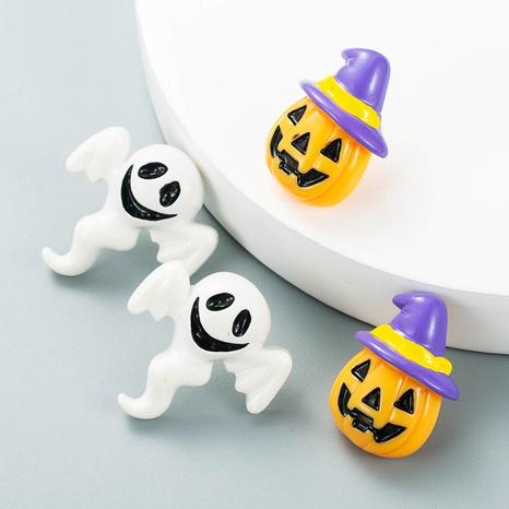 Pendientes de botón de forma de fantasma blanco con cabeza de calabaza de Halloween al por mayor nihaojewelry NHLN430252's discount tags