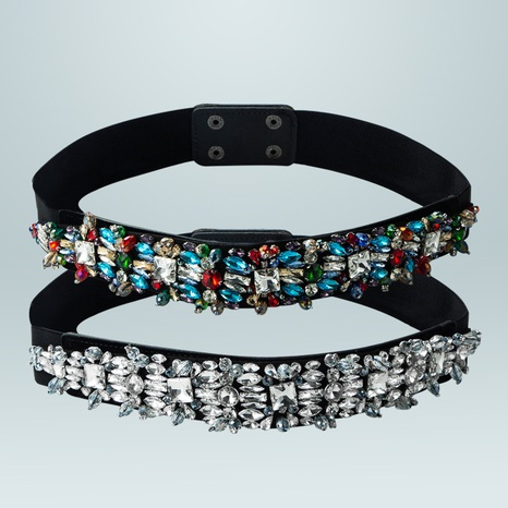 baroque black elastic fabric diamond belt wholesale Nihaojewelry NHLN430260