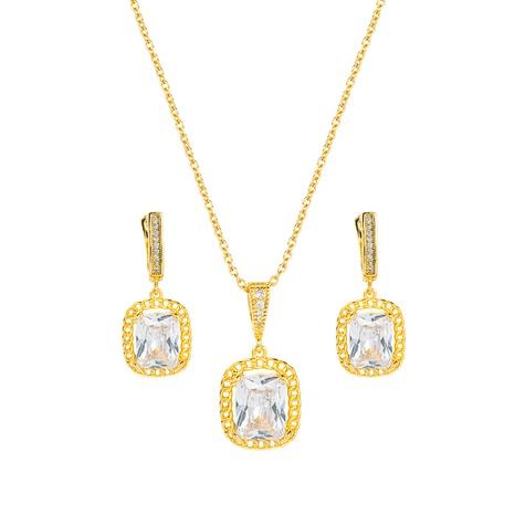 Pendientes de collar de cobre con colgante de circón cuadrado simple conjunto de joyas al por mayor Nihaojewelry NHLN430261's discount tags