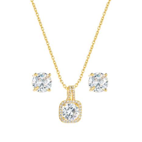 Pendientes de collar de cobre colgante de circón redondo de moda conjunto de joyas al por mayor Nihaojewelry NHLN430262's discount tags