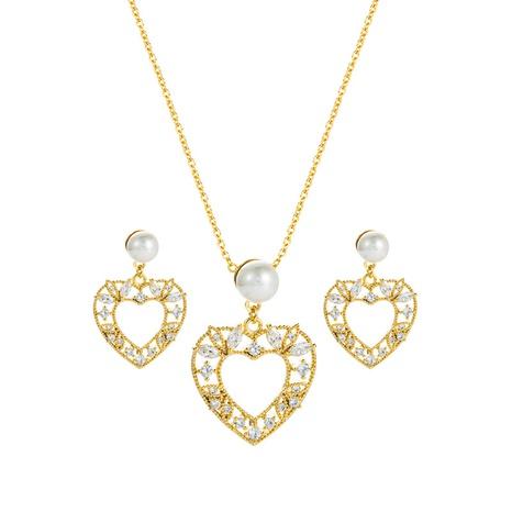 Collar de pendientes de estilo coreano con colgante de perlas en forma de corazón hueco, conjunto de joyas al por mayor Nihaojewelry NHLN430263's discount tags