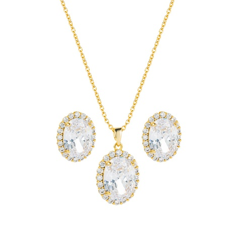 Pendientes de collar colgante redondo de circón con incrustaciones de cobre simple conjunto de joyas al por mayor Nihaojewelry NHLN430264's discount tags