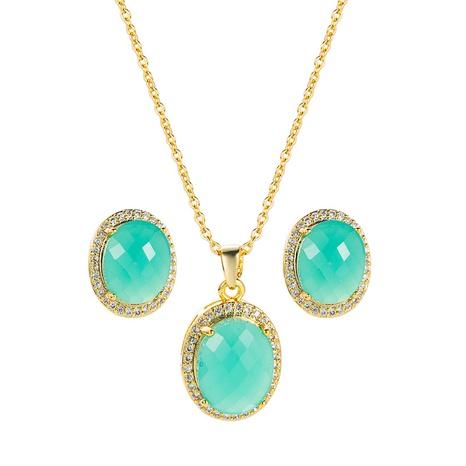Pendientes de collar de cobre con colgante de esmeralda retro, conjunto de 2 piezas al por mayor, joyería Nihaojewelry NHLN430265's discount tags