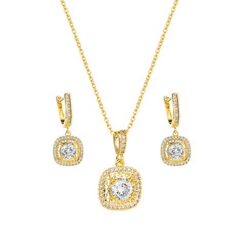 Pendientes de collar de cobre colgante de circón de moda conjunto de joyas al por mayor Nihaojewelry NHLN430266's discount tags